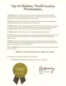 Grad Charlotte, NC Izdao Proklamaciju Srebreničkog Genocida