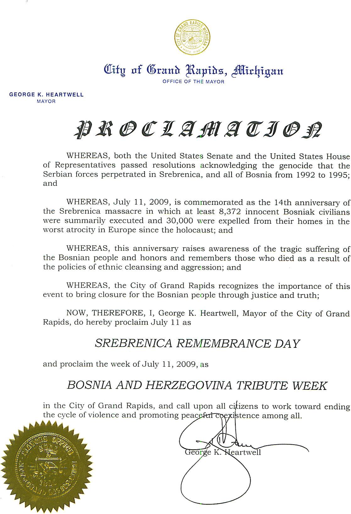 Grad Grand Rapids u Michigan-u Izdao Proklamaciju za Srebrenicu i BiH
