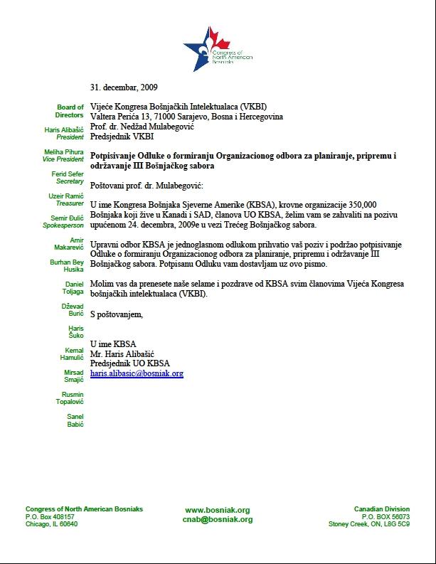Saopćenje Kongresa Bošnjaka Sjeverne Amerike o Trećem Bošnjačkom Saboru