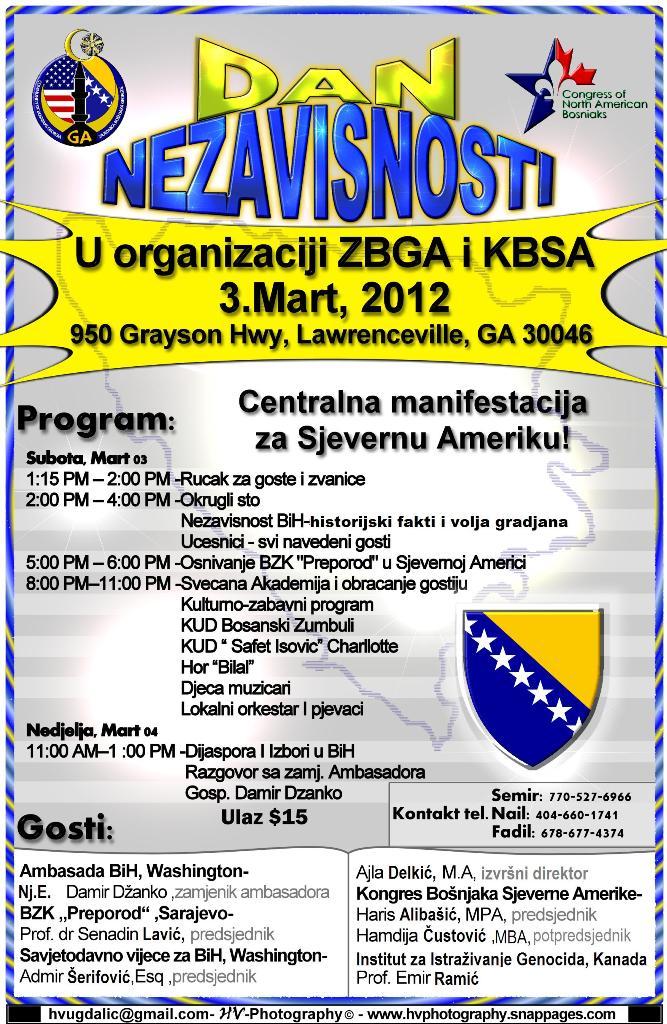 Centralna Manifestacija KBSA povodom Dana Nezavisnosti Republike BiH