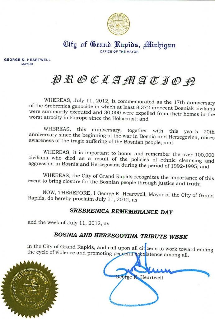 Gradonačelnik grada Grand Rapidsa u Michiganu proglasio 11. Juli, 2012 kao Dan sjećanja na Srebrenicu