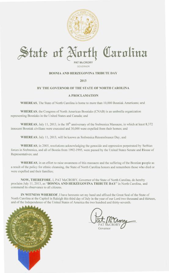 U znak sjećanja na žrtve genocida u Srebrenici, Guverner države Sjeverne Karoline proglasio Dan Počasti BiH