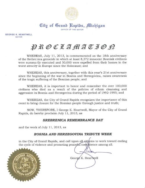 Gradonačelnik grada Grand Rapidsa u Michiganu proglasio 11. Juli, 2013 kao Dan sjećanja na Srebrenicu