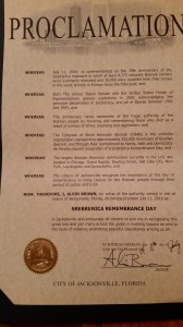 City of Jacksonville 2014 proclamation srebrenica